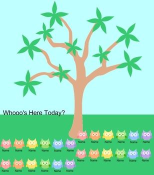 create an owl themed flipchart for lunch choice or student attendance