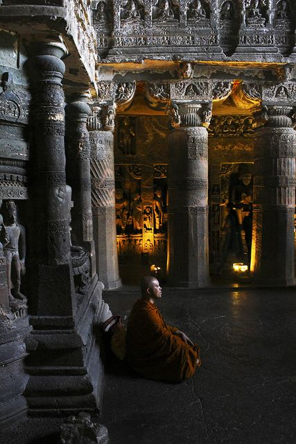 Ajanta Caves date from the 2nd century BCE. In Aurangabad District of Maharashtra,   INDIA.   (by Tiwari Amit, via Flickr)