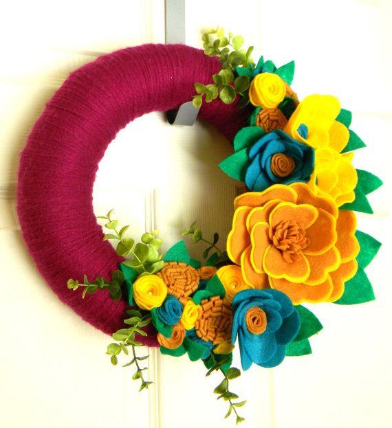 Blooming 12 inch Felt and Yarn Wreath by EllaBellaMaeDesigns