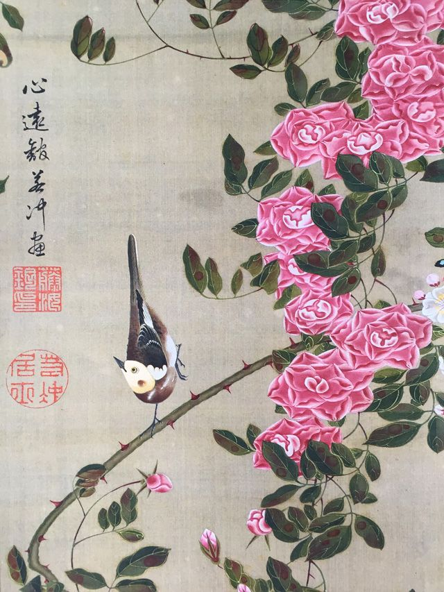 """Detail. Roses and Birds. 伊藤若冲 ITO Jakuchu 1716-1800, Japanese). One of 30 scrolls of the set: """"Colorful Realm of Living Beings."""" Shokokuji Jotenkaku Museum."""