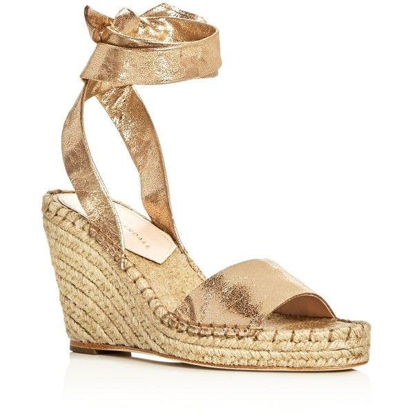 Loeffler Randall Harper Metallic Ankle Tie Espadrille Wedge Sandals (£245) ❤ liked on Polyvore featuring shoes, sandals, gold, metallic wedge sandals, loeffler randall sandals, wedge heel sandals, espadrille wedge sandals and gold wedge shoes