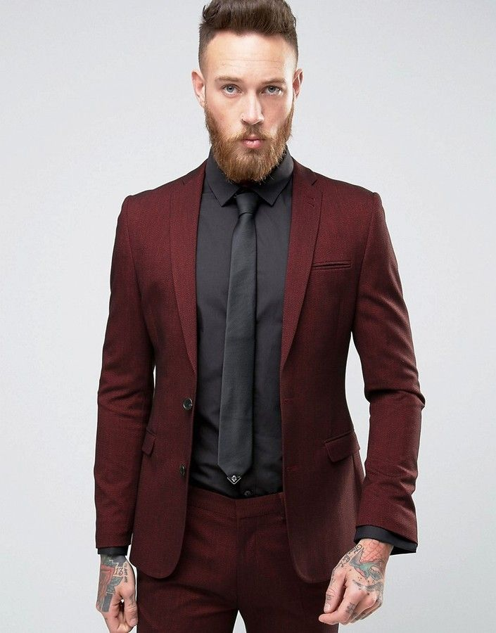 ASOS Super Skinny Suit Jacket In Burgundy Twist