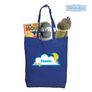 """Product # DC46913 - Give kids their very own bag that's perfect for toting to sleep-overs, camping or a night at Grandmas! Brightly coloured natural cotton bag has loads of room for PJs, books, toothbrush and more. Personalization: Name, up to 10 characters. 16-1/2""""H x 11""""L x 3-1/2""""W.  $9.98"""