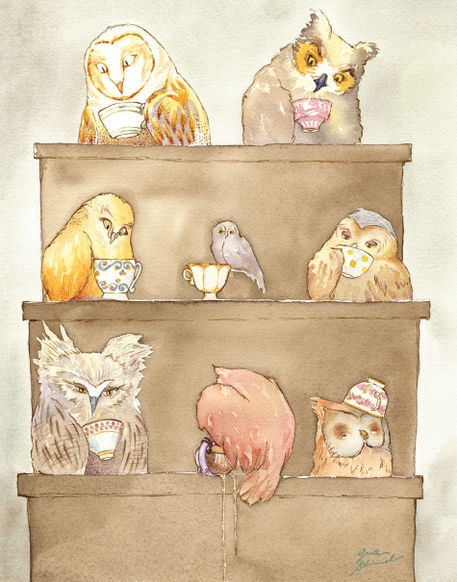 """The Owls of Dumbree by Greta Schimmel on artflakes.com as poster or art print $18.44Illustration; March, 2010;  Ink & watercolor on Arches watercolor paper.   There was an old man of Dumbree,  Who taught little owls to drink tea;  For he said, """"To eat mice,  Is not proper or nice,""""  That amiable man of Dumbree.   -From One Hundred Nonsense Pictures and Rhymes"""
