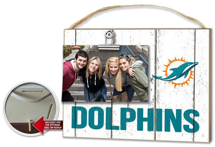 Miami Dolphins Clip It Weathered Logo Photo Frame