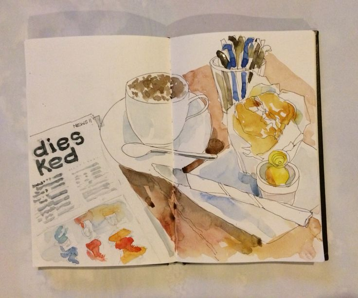 Not quite breakfast ... Pumpkin and bacon muffin with cappuccino.  Ink and watercolour in S&B Alpha sketchbook.
