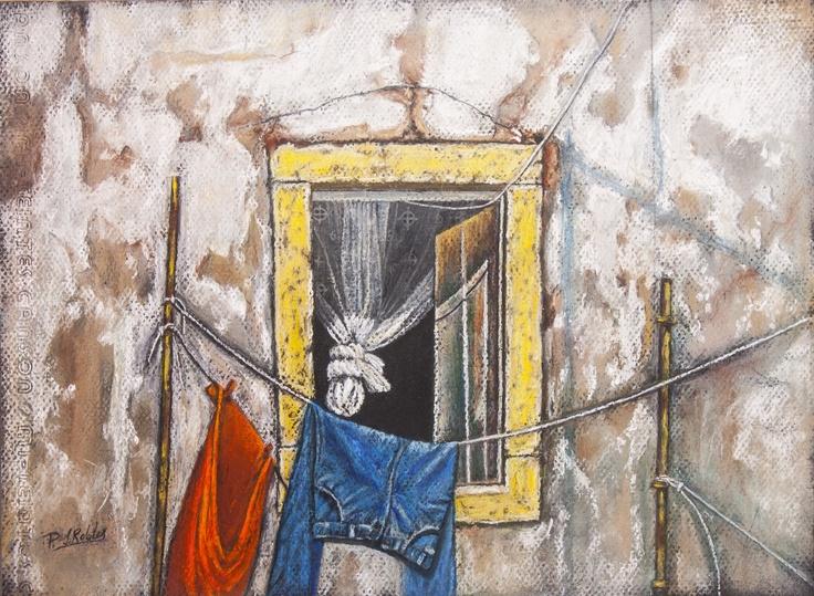 Pilar S. Robles. Ropa tendida en la ventana. Pastel. 35x26. s/marco.