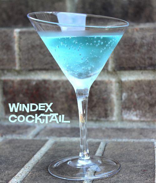 Windex Cocktail recipe - 1 ounce vodka 2 ounces UV blue raspberry vodka 6 ounces lemon-lime soda