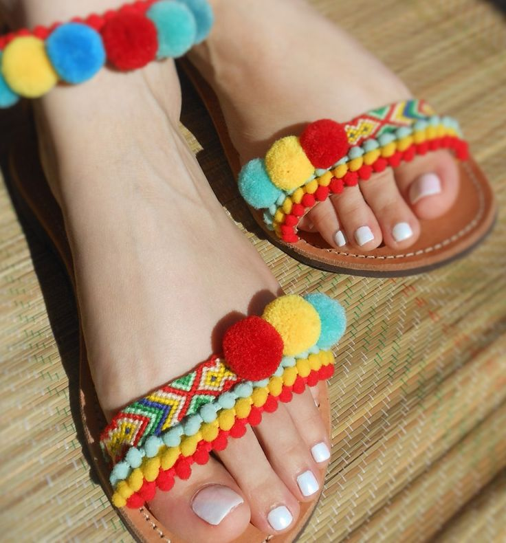 Sale! CIRCUS COLORS Anklet Strap Greek leather sandals, multicolor boho sandals with friendship bracelets and pompoms for your holidays by ENOTIA on Etsy