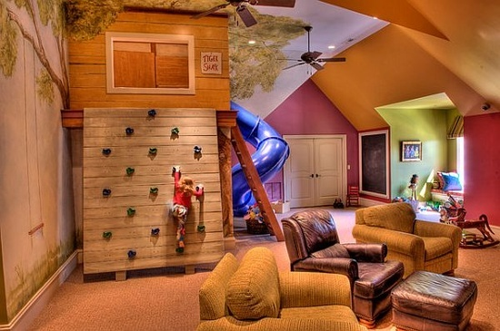 adventure clubhouse. Create in yard. Don't use a ladder!  Use ropes, net, pole, rock wall, slide & tubes. Platform with roof?  No walls. Need to access platform for climbing up.