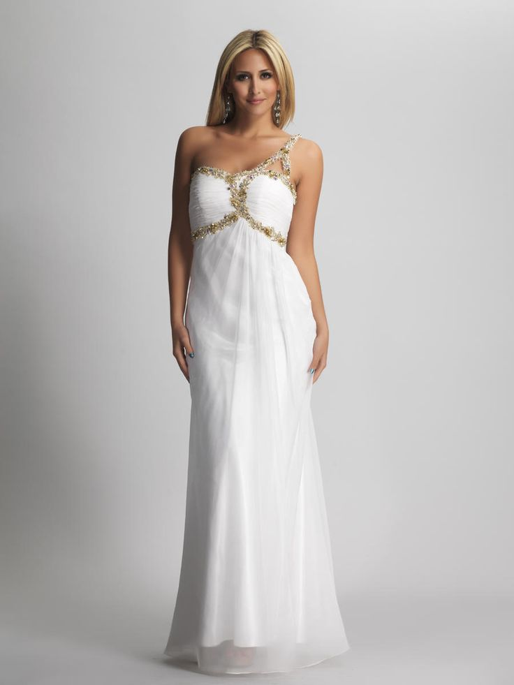 Interesting-Sheath-One-Shoulder-White-Bridesmaid-dress
