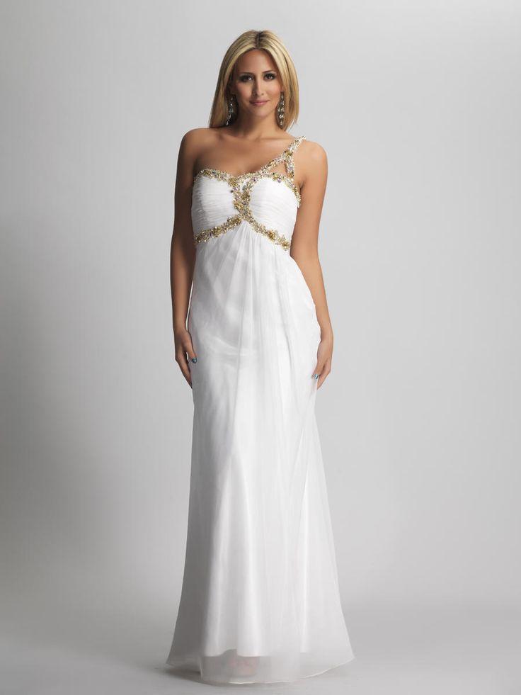 Interesting-Sheath-One-Shoulder-White-Bridesmaid-dress