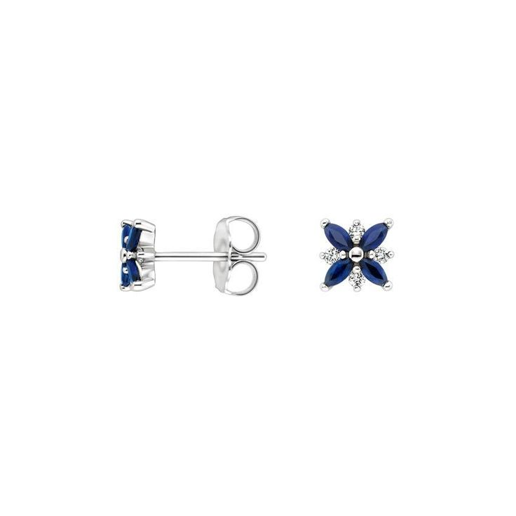 WANT. 18K White Gold Sapphire and Diamond Petal Earrings, top view