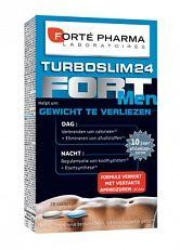 Forte Pharma Turboslim 24 Forte Men Afslankpillen 28tabl  TurboSlim 24 is berust op de afslankprincipes van de chronobiologie en houdt rekening met het natuurlijke bioritme van uw lichaam :1.Stimuleert de verbranding van calorieën en vermindert zo lovehandles2.Beperkt de opslag van vetten en verstevigt de spiermassa.SamenstellingDe synergetische werking van natuurlijke extracten van Maté Guarana Cacao en CLA (Geconjugeerde Linolzuren) zorgt overdag voor de verbranding van het vet van de…