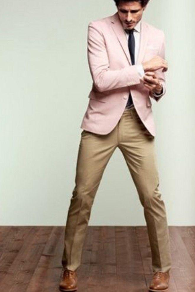 look masculino cáqui com rosa