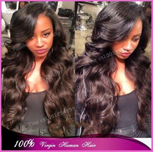 На складе! Дополнительные длинная 30  # 1b натуральная бразильский без тары объёмная волна парики на сетке спереди для черный женщины