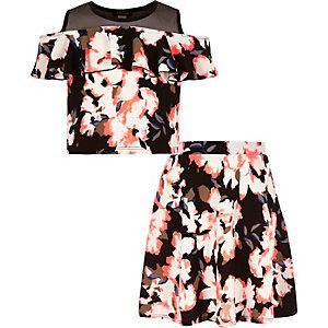 Girls black floral print top and skirt