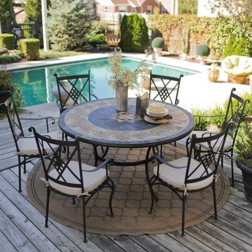 small round stone patio table with chair sets