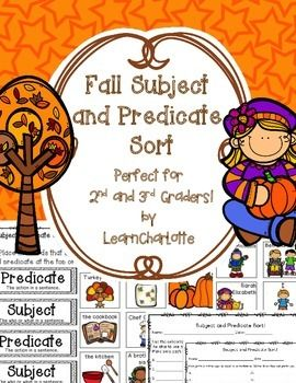 Make learning subject and predicate easy and fun with this Fall themed literacy center!