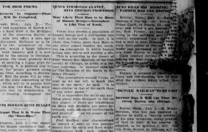 "1907 ""Venus Inhabited Planet Says Chicago Professor"" The Paducah evening sun. (Paducah, Ky.)  July 03, 1907, Page 7, Image 7"