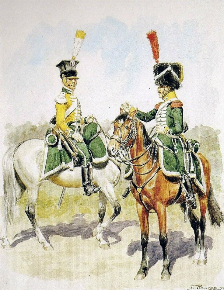 Kingdom of Italy 1st Regiment Chasseurs a cheval, Trumpeter Centre Company and Trooper Elite Company. Dress Regulations of 1807.
