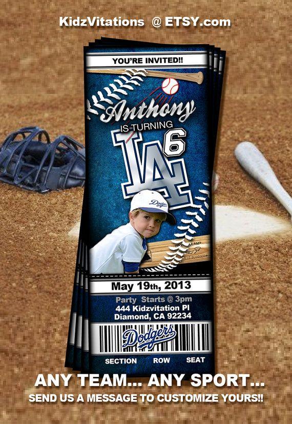Baseball Ticket Invitation Pick Your Team by KidzVitations on Etsy, $13.00