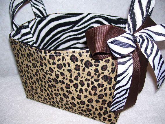 Cheetah And Zebra Animal Print Fabric Basket Organizer Bin