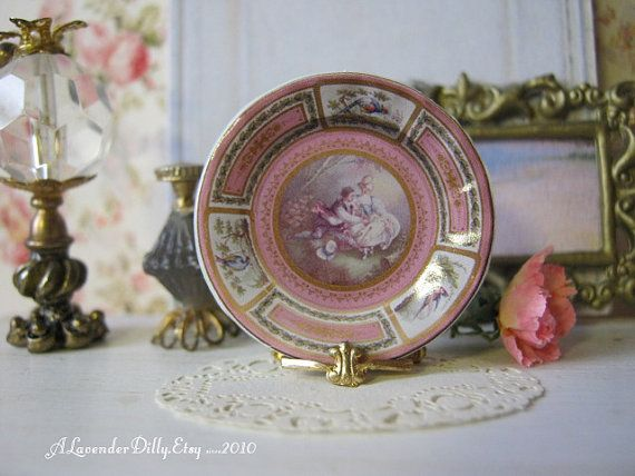 Pink Limoges Dollhouse Plate by ALavenderDilly on Etsy