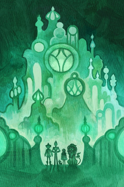 Cool backdrop idea for Emerald City in Wizard of Oz - now you just need someone who can draw/paint it!