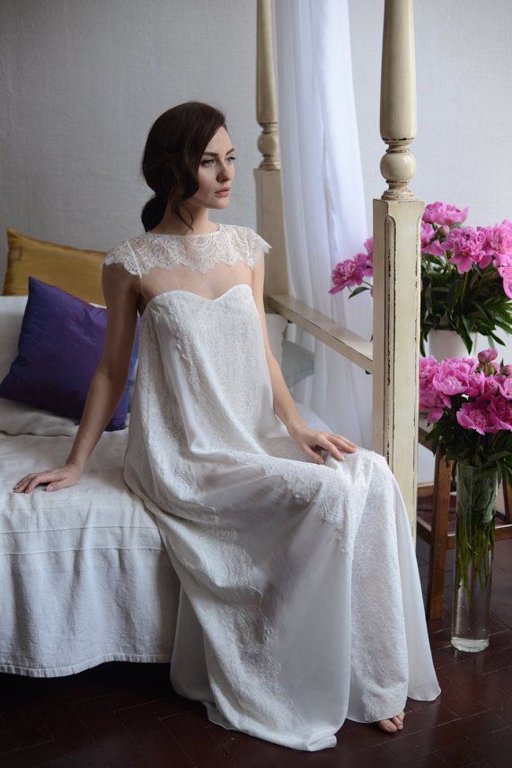 3e870d698e Long Silk Bridal Nightgown With Lace F2