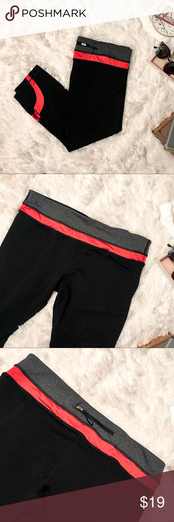 🆕 90degree by reflex black workout Capri Leggings These versatile gym capris kick high quality performance up notch.  Speciality features:  wide waistband that contours your curves & streamlines your shape small pocket to create a classic combination of fashion and function.  these yoga capri leggings have a 4-way stretch fabric which offers support & wicks away moisture & sweat for maximum comfort.  In excellent used condition  Black Capri leggings with red/orange detail From a smoke and…
