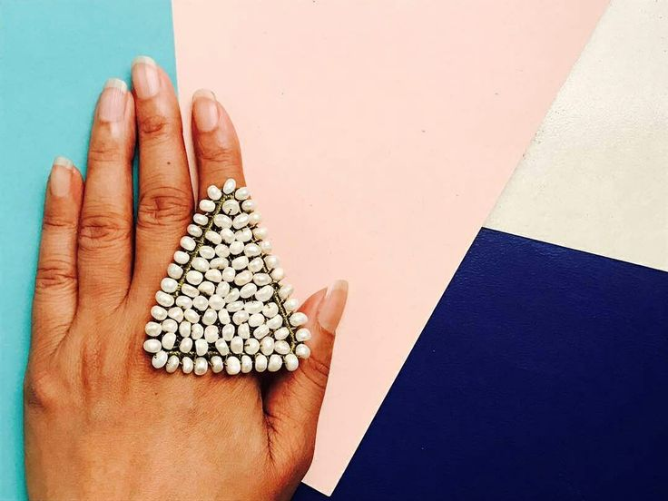 Beaded cocktail ring  #Handmade #accessories #cocktail #ring #party #stylish #shopping #online