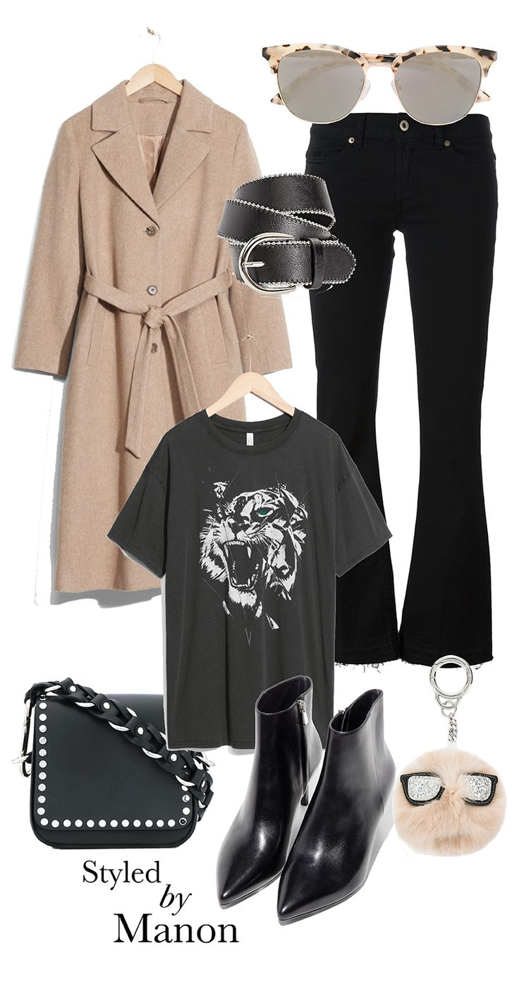 Black flared jeans, cotton t-shirt with tiger print & ankle boots and crossbody bag and beige coat - Styled By Manon