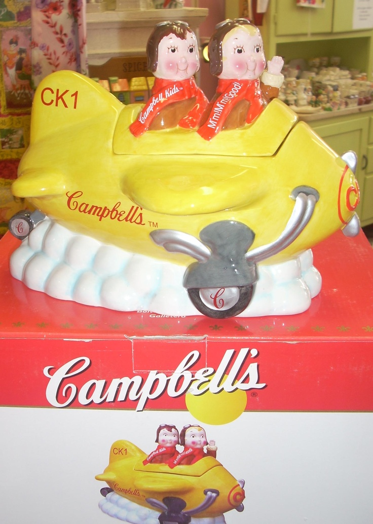 Charming Campbell Kids in plane cookie jar