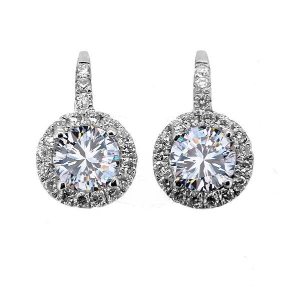 Halo Diamond & Moissanite Earrings by MondiJewelry on Etsy, $1645.00