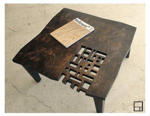 MSTRF / / bloc de AD / / Table basse rustique moderne en détresse / / carré de 32 x 32 / / Dark Walnut - fini Espresso / / Design Mid Century Modern