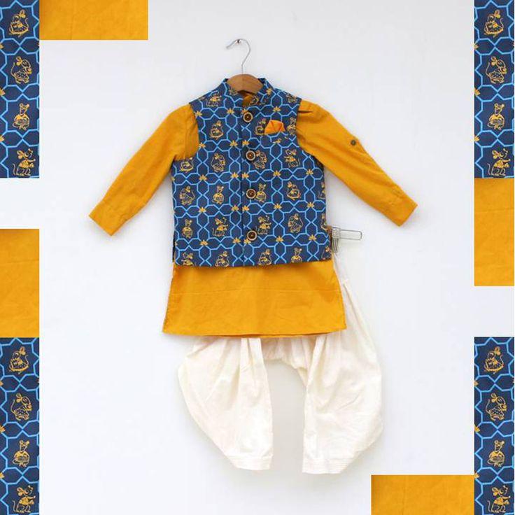 Trendy Pathani Set With Nehru Jacket #Stylemylo #kids #onlineshopping #kidswear #designerkidswear #rakhi #ethnic #babygirls #babyboys