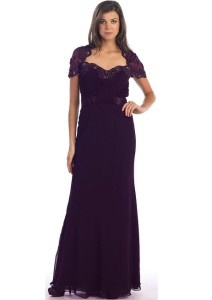 Cute plus size mother of the groom dresses with short sleeves
