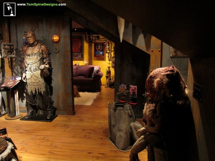 Movie Props Themed Home Theater Design Man Cave horror themed