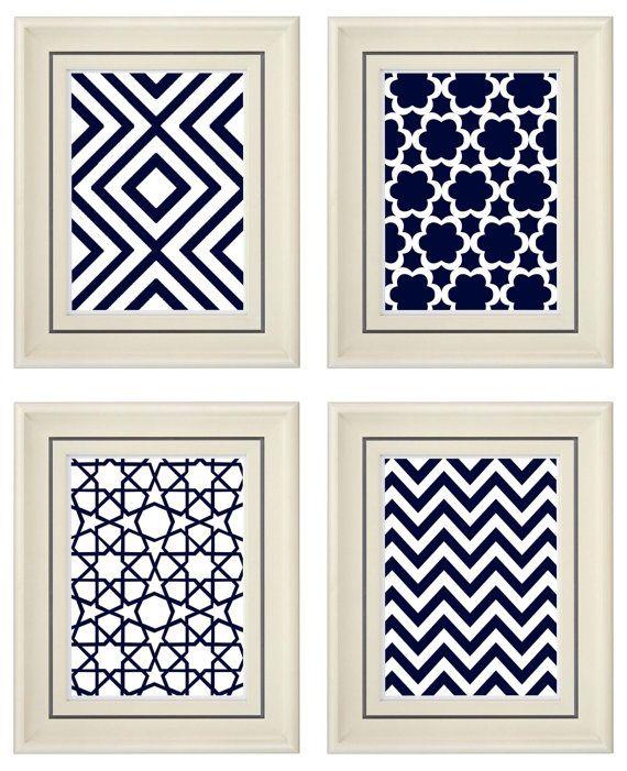 Set of Four Modern Navy Blue Art Print Unframed by catsbeads, $35.00