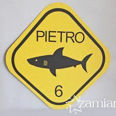 Placa/painel decorativo - advertência Tubarão - Ref. ZA 00716