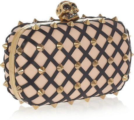 Alexander Mcqueen The Skull Studded Lattice Leather Clutch in Pink (blush)