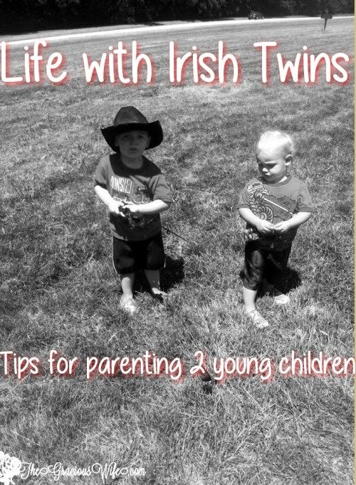 How to handle life while parenting Irish Twins, 2 children under 1. Tips for parenting 2 young children.  Advice is also great for 2 under 2! From TheGraciousWife.com
