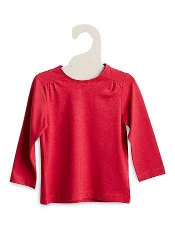 Tee-shirt coton goutte au dos Petite fille 4,00€ T-shirt manches longues Le bon basique qu'il lui faut ! - Tee-shirt pur coton - Manches longues - Encolure ronde -