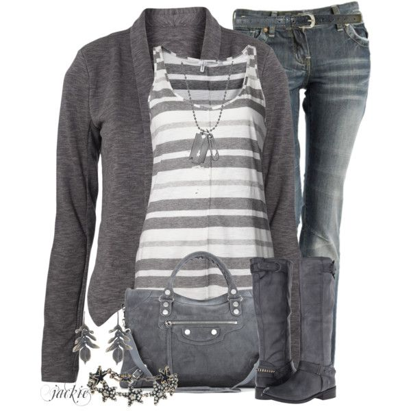 """""""Cardigan and Striped Tank"""" by jackie22 on Polyvore"""