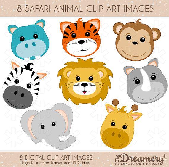 8 Safari Animals Clip Art Images - INSTANT DOWNLOAD - PNG - Invitations, Party…