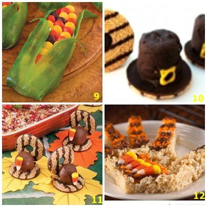Corn cob cookies--Marshmallow cookie hats--Candy/cookie turkeys--Hand print cereal treat cookies