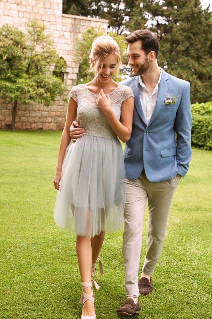 Top Secret szara tiulowa sukienka na wesele prom dress wedding dress lace