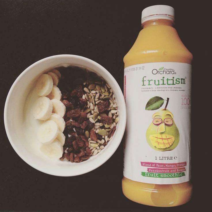 Yogurt, seeds, sultanas, bananas and ALDIs amazing Fruitism! #healthy #easy #food