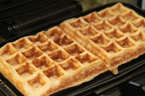 45 Calorie Fat-Free Waffle Recipe Breakfast and Brunch with whole wheat flour, salt, baking powder, unsweetened applesauce, unsweetened almond milk, egg whites, splenda